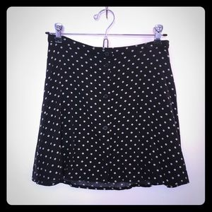 H&M Floral Black and White Button Swing Skirt US 4